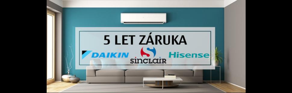 5 let záruka Daikin, Sinclair a Hisense