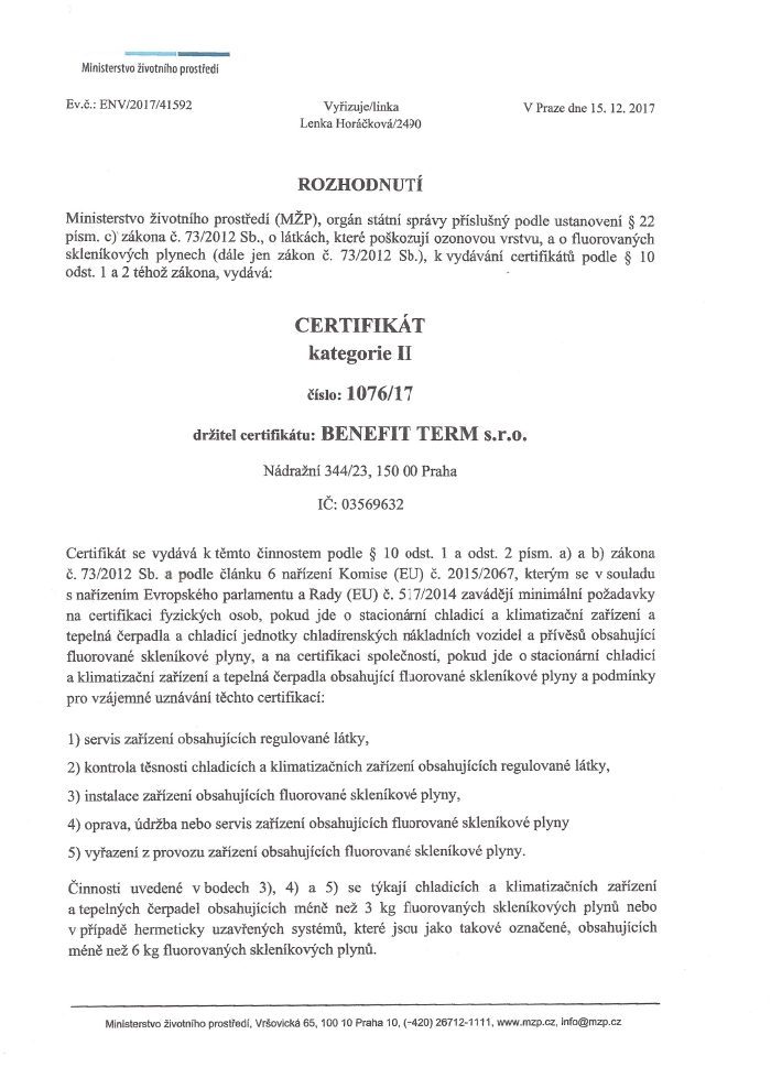 Certifikát Bterm