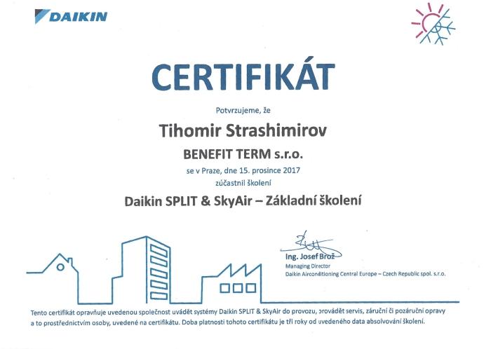 Certifikát Daikin