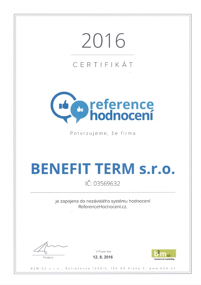 reference hodnoceni Benefit Term